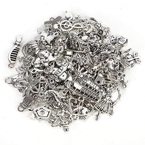 100 piezas de accesorios para colgantes artesanales de bricolaje cuproníquel de plata profunda para la fabricación de pulseras
