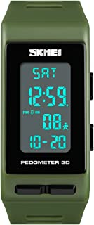 TONSHEN Unisex Outdoor Sport Digital Watch for Men and Women Multifunction Pedometer Calories LED Backlight Stopwatch Rectangular Plastic Case with Rubber Band Wrist Watches for Fitness (Green) …