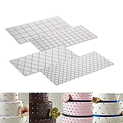 (Set of 4?Fondant Impression Mat Mould, Diamond & Quilted Grid Texture Embossed Design- Plastic----Cake Decorating Supplies for Cupcake Wedding Cake Decoration Tools