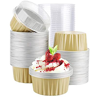 "Cupcake Cups with Lids, Eusoar 5oz 100pcs Disposable Desserts Flan, 3.34x2.59x2.35"" 125ml Baking Cups with Lids, Aluminum Foil Desserts Cupcake Flan, Catering Gathering Shower Favor- Khaki"