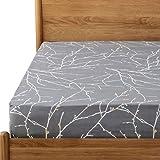 Bedsure Spannbettlaken 90x200cm Grau mit Zweigmuster für Hohe Matratzen bis 40cm - Super Weiche Atmungsaktive Spannbetttuch aus Microfaser für Boxspringbett geeignet
