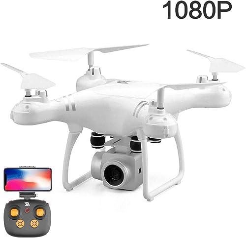 Slinlu GPS Drone, Caméscope 1080P HD WiFi, Drone avec caméra pour Adultes Appareil Photo Professionnel Photographie aérienne avec Drone pour Cadeau d'anniversaire Enfant,blanc