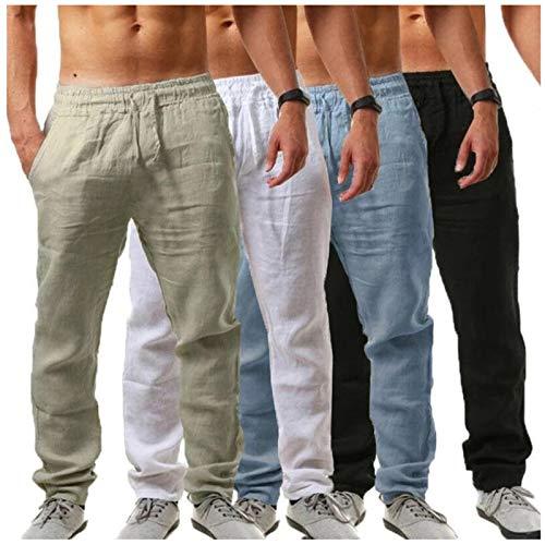Homme Lin Pantalons Jogger Pants Jogging Sport Pantalons Large Pantalon avec Élastique Homme Pantalon Cargo Sport Jogging Pantalons Poches Ceinture Élastique Casual Activewear Long Pants