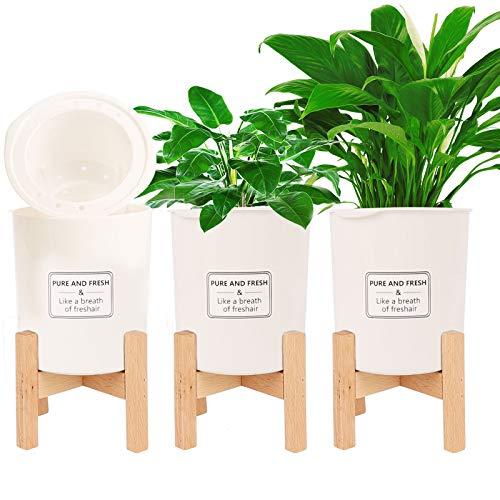 Herefun 3er-Set Pflanzentöpfe aus Kunststoff + 3er Verstellbarer Pflanzenständer, Pflanzkübel Selbstbewässerung Blumentopf Pflanztopf Rundtopf mit Pflanzenständer Ständer für Hausgarten Patio Dekor