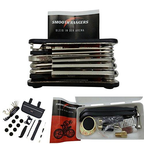 Smooth Rangers – Fahrrad Reparaturset in Tasche, Multitool & hochwertige Alu Mini Luftpumpe sowie Reifenheber, Selbstklebende Flicken inkl, Sorglos-Paket für Ihren nächsten Radtouren - 2