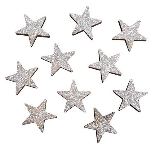 Rayher 46298606 Holz-Streuteile Sterne, teilw. beglimmert, 3 cm Ø, 10 Stück, silber
