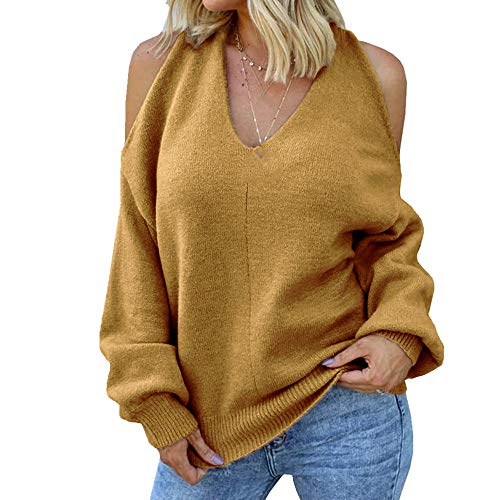 NP Camiseta de cuello en V con hombros descubiertos, para otoño e invierno, para mujer, sexy, cruzada, pecho y espalda abierta