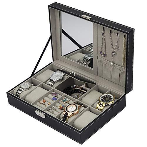 Zjcpow-HO Uhr-Aufbewahrungsbox Multifunktionsspeicher-Schaukarton-Schmuck und Uhr-Aufbewahrungsbox mit Manschettenknopf-Kästen (Farbe : Photo Color, Größe : Einheitsgröße)