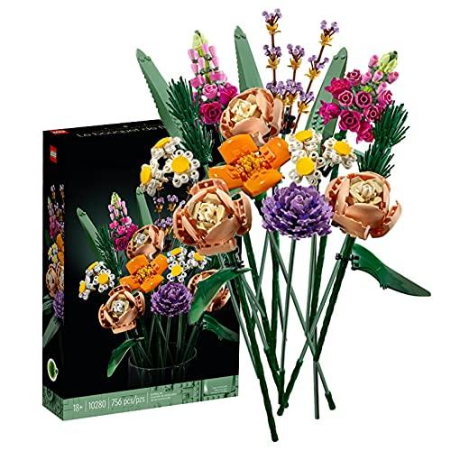 PLDDY Blumenstrauß Bauspielzeugsets, 756 Erwachsene Künstliche Blumen Konstruktionsspielzeug,Kreative DIY zusammengebaute Bonsai-Innendekoration,Botanik Kollektion mit Bausteine Modell