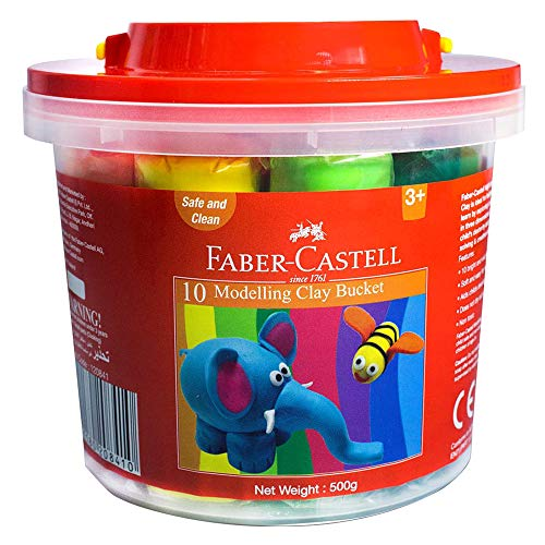 Faber Castell Modelling Clay 500Gm - 10 Colors X 50Gm In A Plastic Bucket, 120841, Multi Color