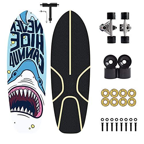 Surf Skateboard, Bomping Surf Skates, CX7 Carving Truck, para niños adolescentes y adultos, ABEC-11 rodamiento, madera de arce Surfskate 75×24cm, con T-Tool