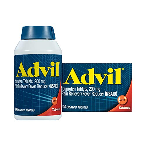 Advil, 200mg Ibuprofen, Pain Reliever/Fever Reducer, Home & Away Pack Temporary Pain Relief, 300 + 24 Count, Coated Tablets