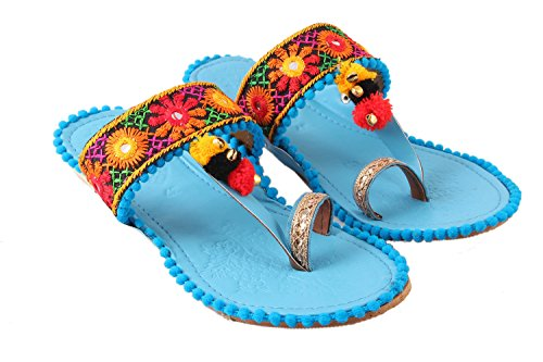 SHREE OL Rajasthani Jaipuri Work Kolhapuri Ethnic Womens Girls Ladies Slipper pur (9, Sky Blue)