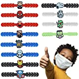 Avocabros Mask Strap Extender for Kids, Adjustable Anti-Slip Ear Hook Protector, Cute Kids Mask Strap Extender for Relax Ears with Mask Extension Buckle, Ear Savers for Masks (12 Pcs) (Boys (12 Pc))
