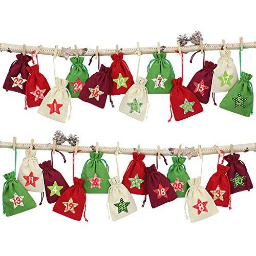 LD Kerstmis decoratie 24 adventskalender stoffen zakjes om te vullen – met bakkergaren en knijpers (levertijd is 3-7 dagen)