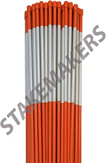 Driveway Markers, Solid Fiberglass, 1/4 Inch, Cap and Reflective Tape, Orange Snow Stakes, Plow Stakes, Bundle of 100 Pack