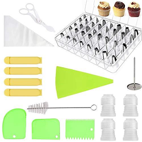 Migimi Accesorios para pastelería, 62 boquillas de manga pastelera profesionales, accesorios para tartas con boquillas de tubería, rascadores de tartas, tijeras elevadoras, cepillo de limpieza