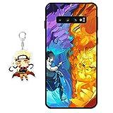 Funda Samsung Galaxy S10 Plus Naruto Anime Diseño [con Naruto Figura Llavero] Silicona TPU Cover Caso Dibujos Animados Carcasa para Samsung Galaxy S10 Plus