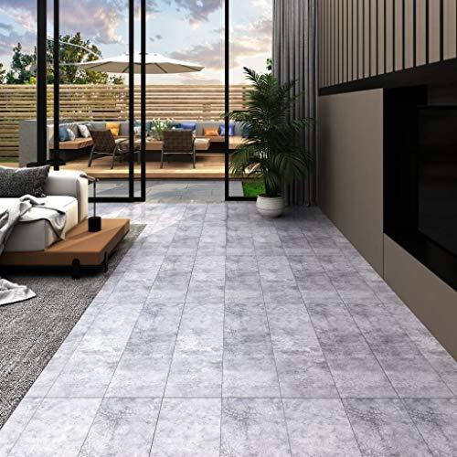 Tidyard PVC Laminat Dielen Selbstklebend Zementgrau Vinyl Bodenbelag zum Küche, Bad, Flur und Wohnzimmer, Größe Verfügbar