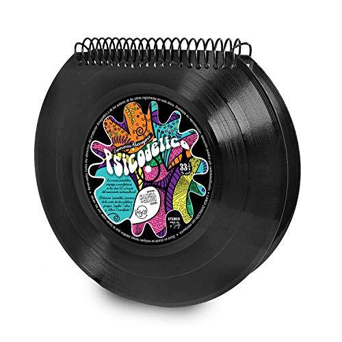 Mancha de Creación - Libreta de discos de vinilo single diseño Psicodélico, 100 hojas blancas de 80gr tamaño 13 x 10,5 cm, retro vintage, cuaderno ideal para bocetos y notas