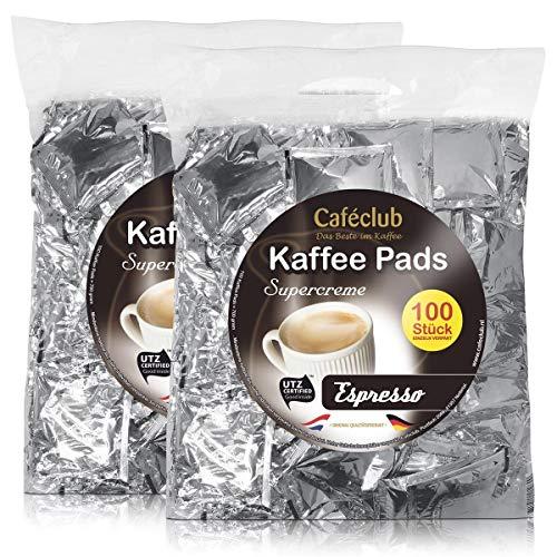 2x Cafeclub Espresso Kaffeepads Megabeutel je 100 stk. dunkle Röstung einzeln verpackt