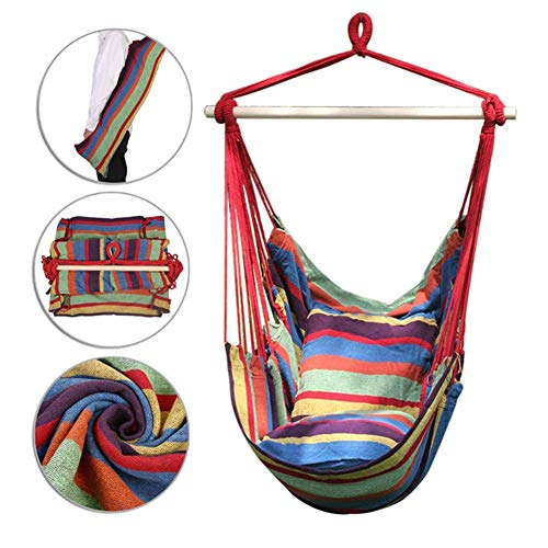 WJSW Hammock Swing Chair, Soft Cushioned Rope Hanging Swing Set, Garden Hanging Rope Hammock Chair Porch Swing Seat with Two Cushions for Yard Porch Patio, Tropical Stripes