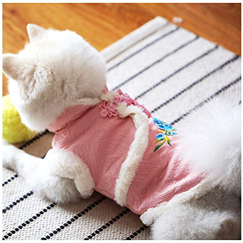 NACOCO Dog Tang Costume Blessing Pet Winter Coat Happy New Year Cheongsam Qipao Dresses Cat Peony Design Clothes for Schnauzer Teddy French Bulldog (Pink Peony, XXL)