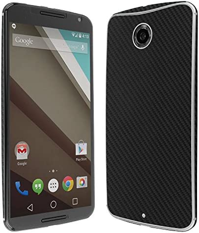 Skinomi Black Carbon Fiber Full Body Skin Compatible with Google Nexus 6 Motorola Nexus 6 Full product image