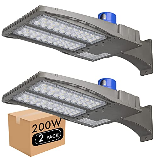 Lightdot 2 Pack Parking Lot Lights 200W (Eqv 600W), 24,000Lm (120lm/w) 5000K LED Street Pole Lights with Dusk to Dawn Photocell, IP65 Waterproof Arm Mounting