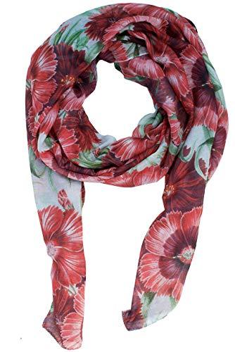 RobeCode großer Damen Schal Kaisernelke- bedrucktes Designer Oversize-Tuch mit Zeichnungen von roten Nelken, luftig leichter XXL Sommerschal aus Voile Gewebe vegan und fair