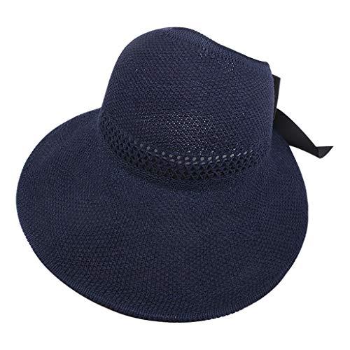 Vobery Sombrero de verano para mujer Floppy Beach para el sol, para ciclismo, ajustable, sombrero de paja (azul marino)
