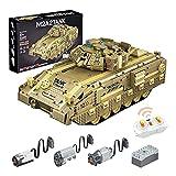RSWLY Technics Tank RC Kit de modelo, 1763 piezas WW2 M2A2 Militar Control remoto tanque de construcción para niños y adultos, bloques de construcción compatibles con Lego Technic