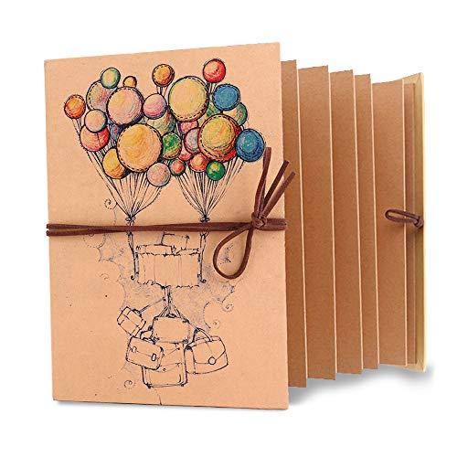 Fdit - Álbum De Fotos De Papel Kraft Vintage Plegable Diy Scrapbook Hecho A Mano Album De Boda Aniversario Cumpleaños Navidad Regalo