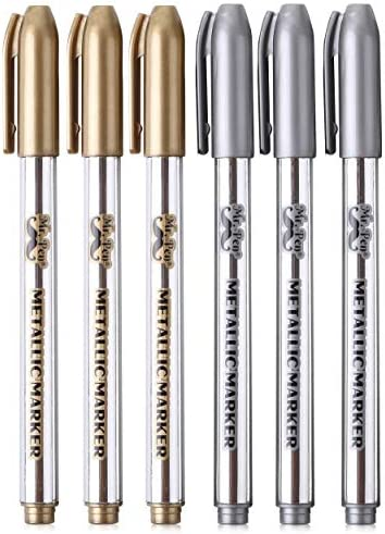 Mr Pen Metallic Paint Markers 6 Pack Silver and Gold Silver Paint Marker Gold Ink Pen Silver product image