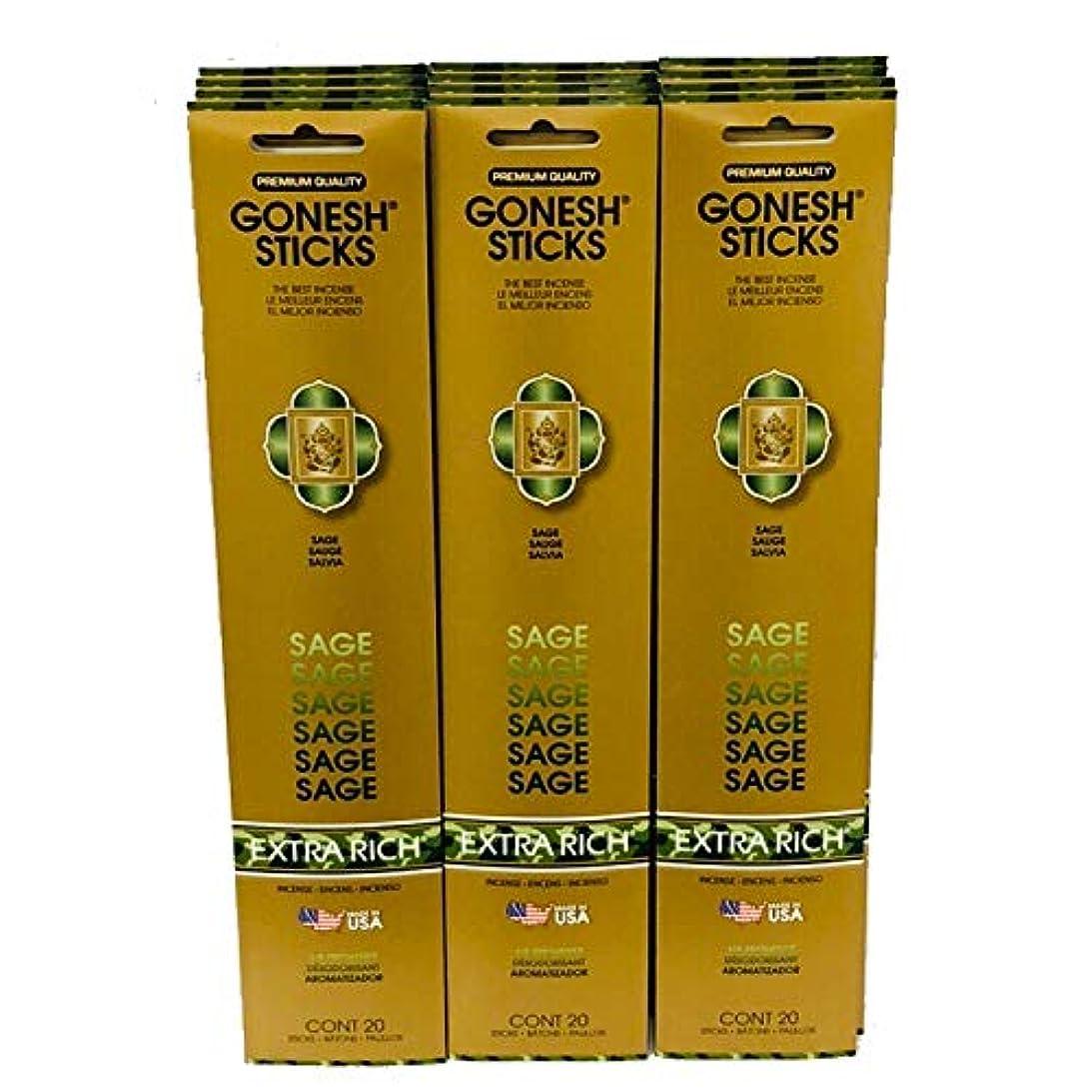 解凍する、雪解け、霜解け塩辛い薄いGonesh Incense Sticks Extra Richコレクション:セージ12パック( 20?Sticks /パック