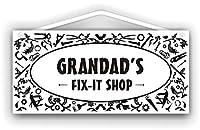 Grandad Fix-it Shop ウッドサインショップ注意看板木製素材ショップ看板壁画安全標識ディスプレイボードポスター壁画情報装飾レストラン日本人食料品店カフェ旅行用品誕生日新年クリスマスパーティーギフト