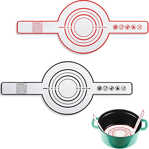 2 Pieces Silicone Baking Mat for Dutch Oven Bread Baking Black and Red Non-stick Baking Mat with Long Handle 8.3 Inch Reusable Silicone Baking Sheets Heat Resistant Baking Bread Pad for Dough Pastry
