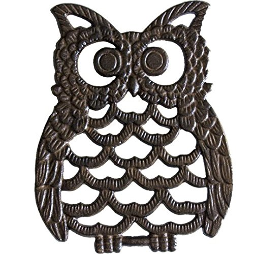 Cast Iron Owl Trivet - Decorative Trivet For Kitchen Counter or Dining Table Vintage, Rustic, Artisan Design - 7.75X6' - With Rubber Pegs/Feet - Recycled Metal