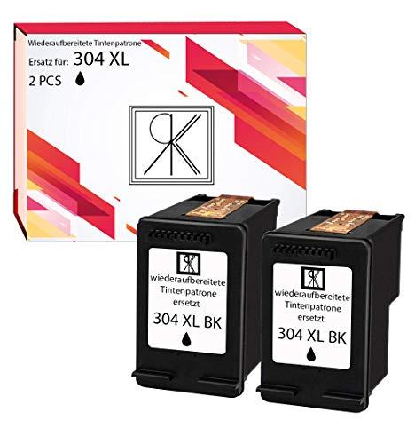 RKK - Cartucho de tinta reciclado (sustituye a 304 XL para impresoras HP, paquete doble por 2 x Negros Deskjet 3720/3730/3732/2620/2630/3735)