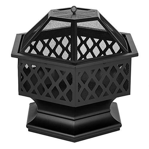 Rabbfay Portable Fire Bowl Hexagonal Shaped Iron Brazier Wood Burning Fire Pit Decoration for Backyard Poolside