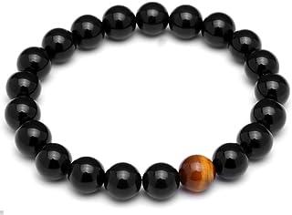 Lion & Son, bracciale di perle, con occhio di tigre, da uomo, in onice, colore nero ossidiana