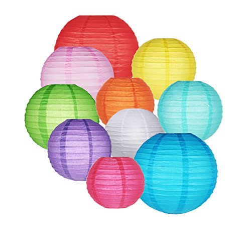 GoFriend, confezione da 10lanterne chinesi di carta, rotonde, colorat, lanterna stile palloncino, decorazioni da appendere, colori e misure assortite, per compleanni, matrimoni, battesimi, feste