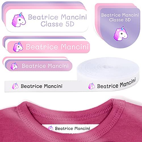 Pacchetto di 155 etichette: 100 etichette di tessuto per contrassegnare vestiti + 55 etichette adesive per contrassegnare oggetti/ etichette per abiti/ etichette da scuola. (Colore 15)