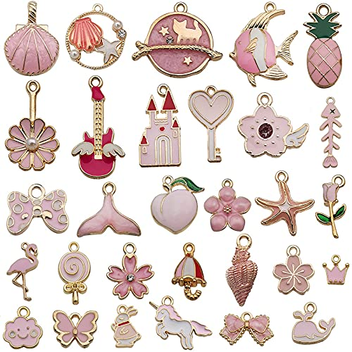 Colgantes Dijes para Pulseras Collares Pendientes 100pcs Charm Colgante Esmalte Accesorios De Aleación, para Llaveros, Pulseras, Collares, Pendiente (31pcs pink)