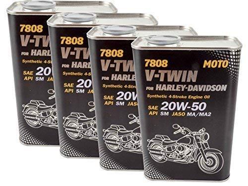 4 X 1L Motorradöl Mannol V-Twin Motoröl 20W-50 passend für Harley Davidson passend für Buell usw.