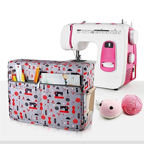 Terynbat - Funda protectora para máquina de coser, resistente al agua y duradera, bolsa de almacenamiento con bolsillo para accesorios de costura