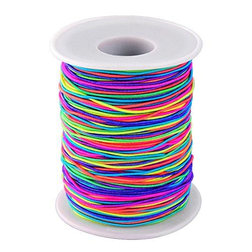 ToWinle Elastische Schnur Perlenschnur Regenbogen Farbe Faden Stretchbar Stoff Handwerk Schnur, 1 mm, 100 m für DIY Halskette Armband Handwerk