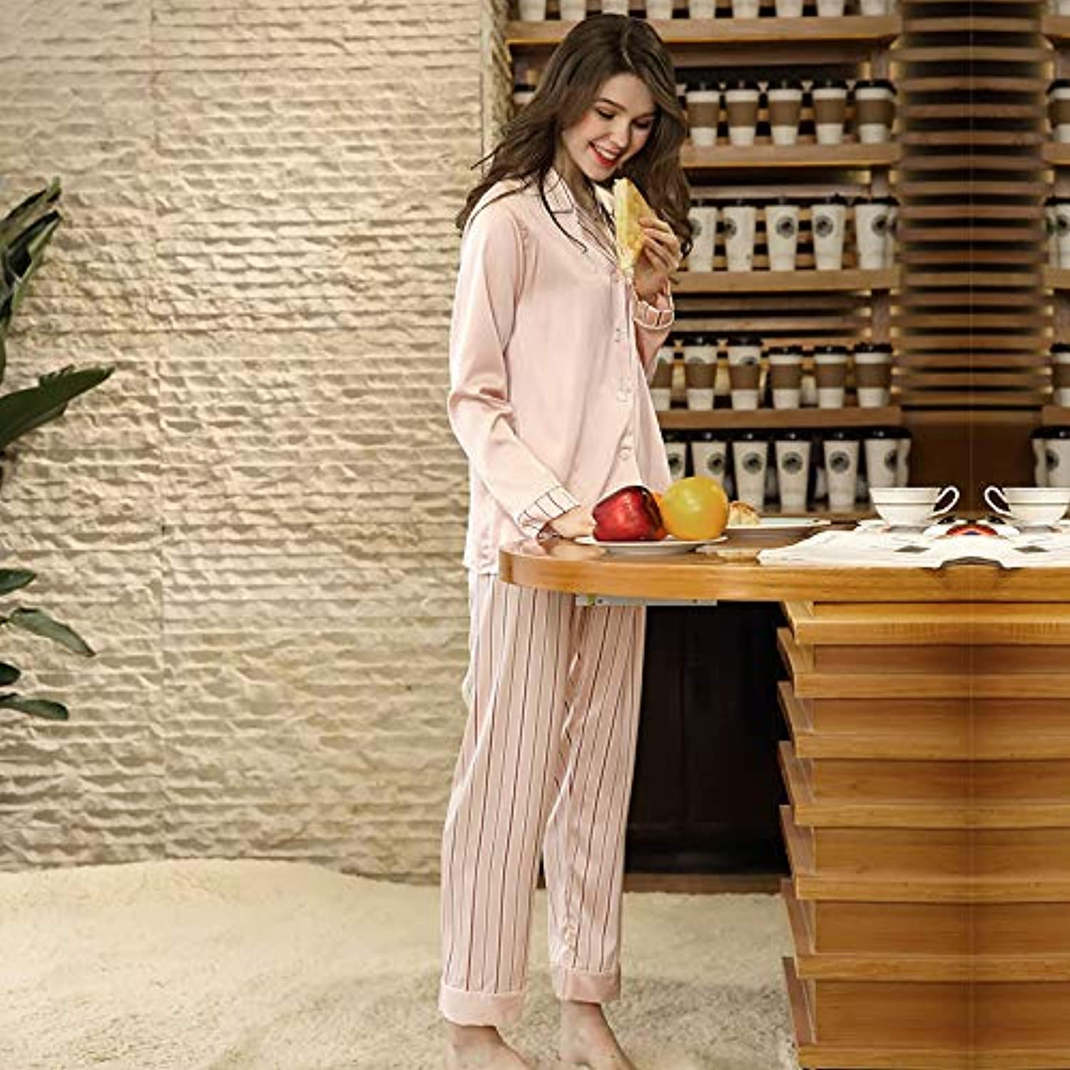 IANXI Home Simulation Silk Pajamas Women's LongSleeved Trousers TwoPiece Home Service (Size   XL)