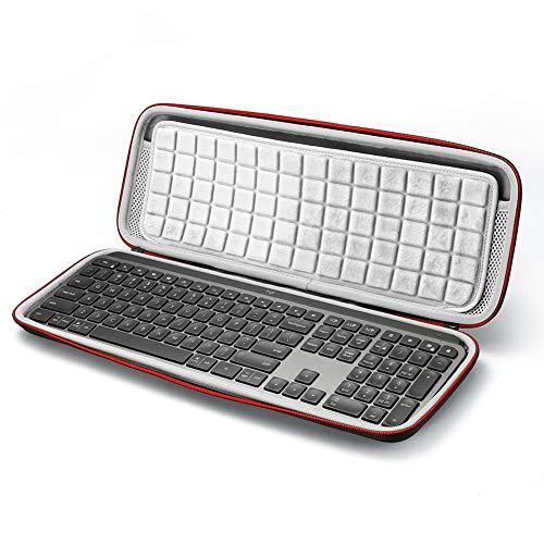 Hard Travel Tragetasche für Logitech MX Keys Advanced Wireless Illuminated Keyboard, Aufbewahrungstasche - Schwarz (graues Futter)