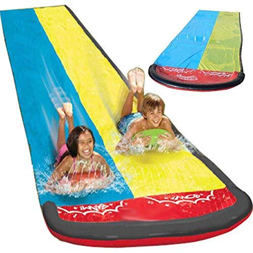 JABERT Dual Racing Lanes and Splash Pool Tobogán acuático Gigante Double Splash Sprint Surfboard Outdoor Grass Beach Park Inflable Sprinkler Juguetes para niños
